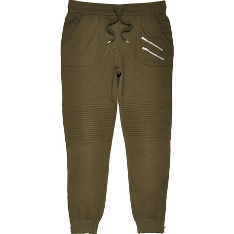 Lyst - River island Dark Green Biker Joggers in Green for Men