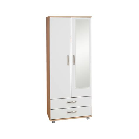 2 Door Wardrobe With Mirror And Drawers by Regal 2 Door 2 Drawer Wardrobe With Mirror Budget Beds