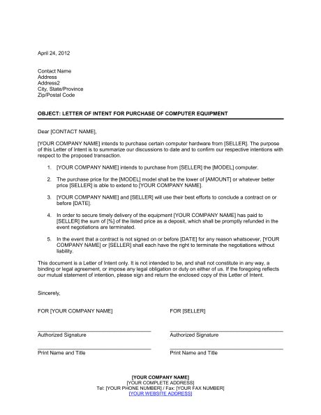 letter  intent buying  business business purchase