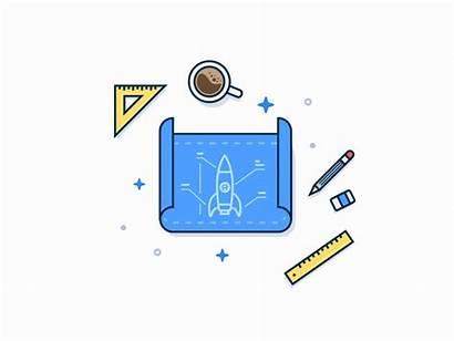 Rocket Launch Blueprint Ready Vector Icon Dribbble