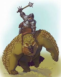 dwarf knight on owlbear by Pachycrocuta on DeviantArt