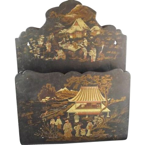 antique japanese style papier mache wall pocket