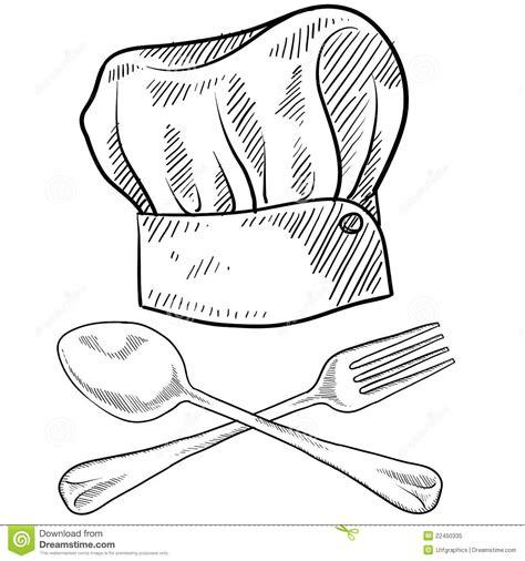dessin d ustensiles de cuisine dessin de chapeau et d 39 ustensiles de chef illustration de