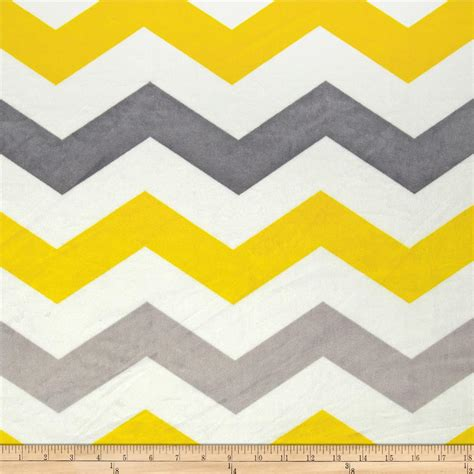 minky large chevron grey yellow silver discount designer fabric fabric