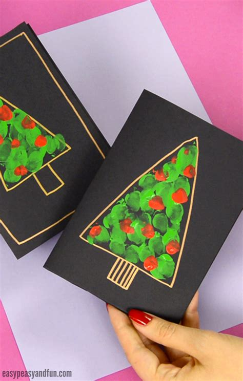 fingerprint christmas tree card easy peasy  fun