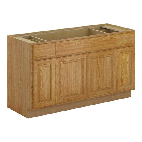 hampton bay madison assembled xx  sink base cabinet  medium oak bs mmo  home