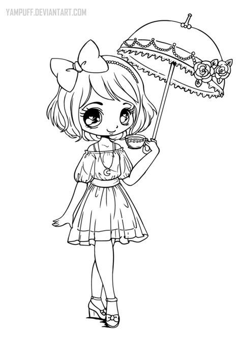 umbrellagirl lineart  yampuff  deviantart