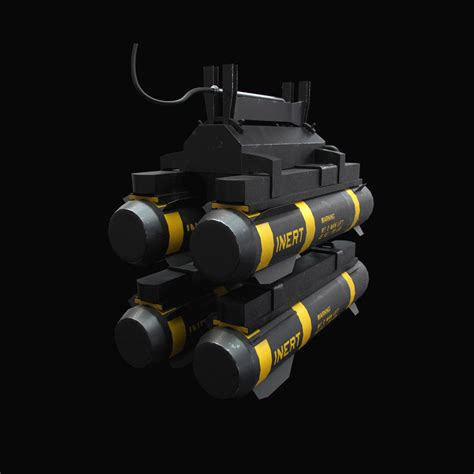 Hellfire Missiles With Army Textures 3d Model .obj .fbx