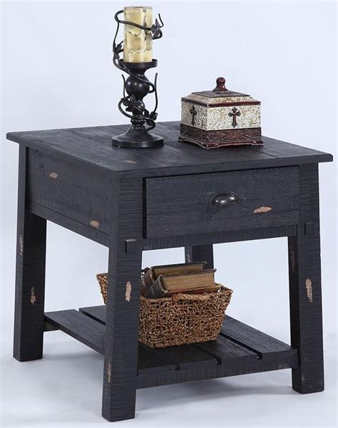 distressed black end tables willow distressed black rectangular end table from 6778