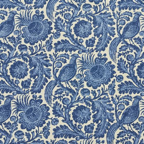Upholstery Fabric by C416 Blue Beige Floral Abstract Outdoor Indoor Upholstery