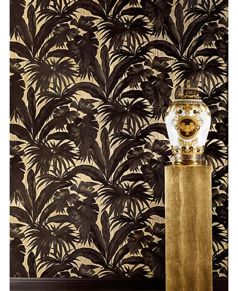 versace giungla palm leaves wallpaper black  gold