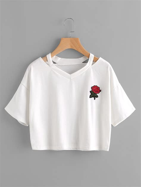 t shirt dresses cut out neck embroidered patch teefor romwe