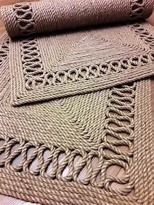 Tapis En Toile De Jute : jute rope handmade pinterest macram tapis et ficelle ~ Teatrodelosmanantiales.com Idées de Décoration