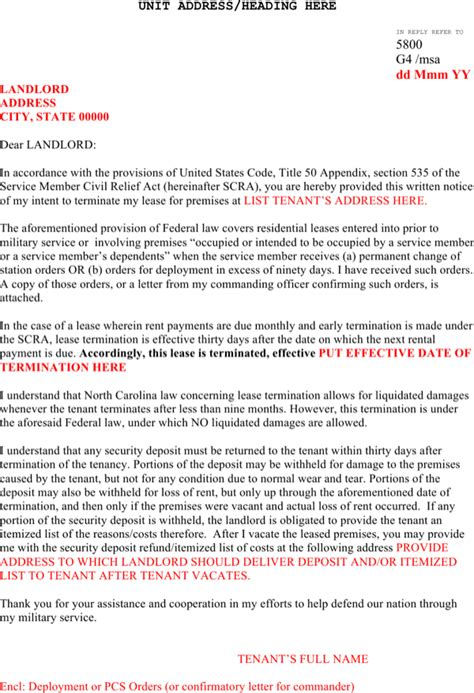 sample scra lease termination letter template