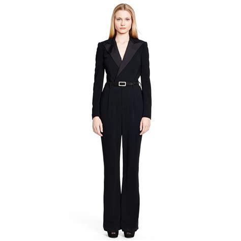 tuxedo jumpsuit lyst ralph black label giana tuxedo jumpsuit in black