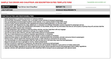 taxi driver description resume taxi driver and chauffeur title