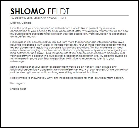 cover letter for tax position tax accountant cover letter sle cover letter templates exles