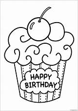 Cake Pages Birthday Coloring sketch template