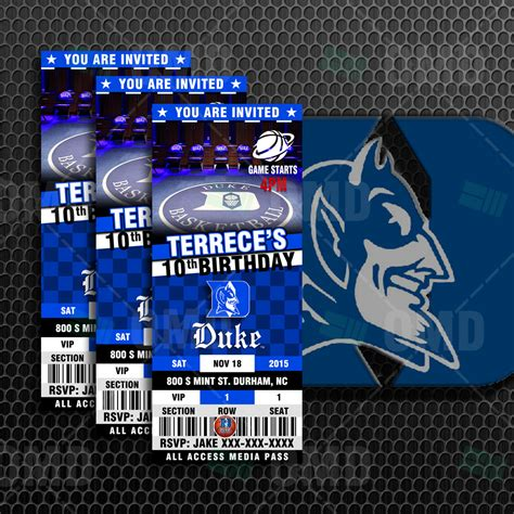 duke blue devils sports ticket style party invites
