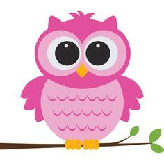 cute pink cartoon baby owl sitting   branch