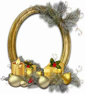 Christmas Oval Gold Photo Frame with Silver Pine   Gallery ...