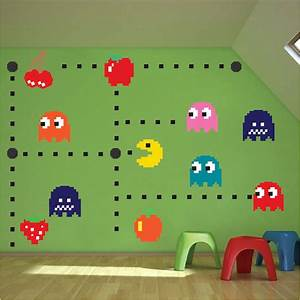 pac man wall decal video game wall decal murals kids With pacman wall decals gamers room ideas