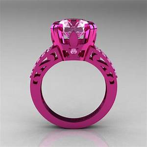 modern vintage 14k pink gold 30 ct light pink sapphire With light pink wedding rings