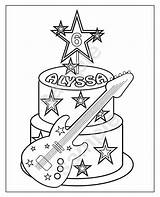 Rockstar Cake Printable Coloring Birthday Personalized Pages Rock Star Pdf Freddy Favor Party Five Template  Pig Night sketch template