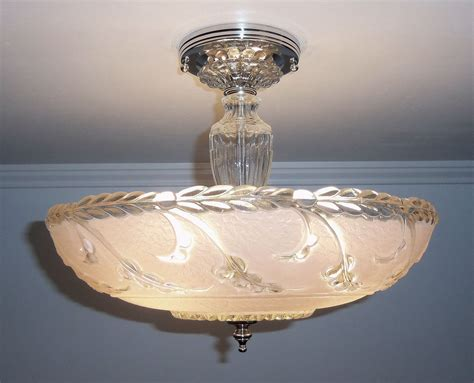 antique 1930s 40s vintage deco pink glass ceiling