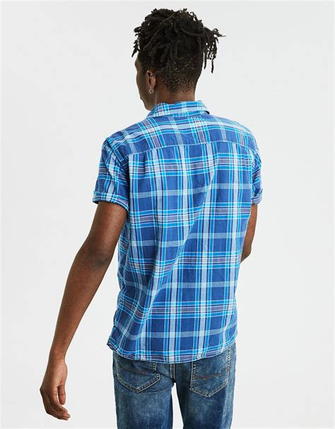 american eagle ae plaid madras short sleeve shirt  blue