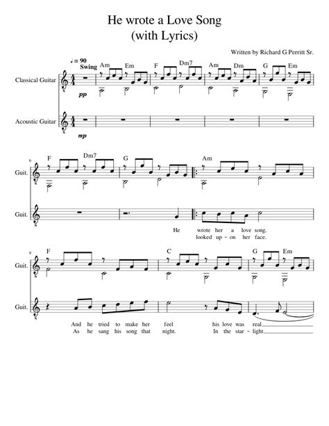 And i'd give up forever. He wrote Her a Love Song (with Lyrics) Sheet music for Piano   Download free in PDF or MIDI ...
