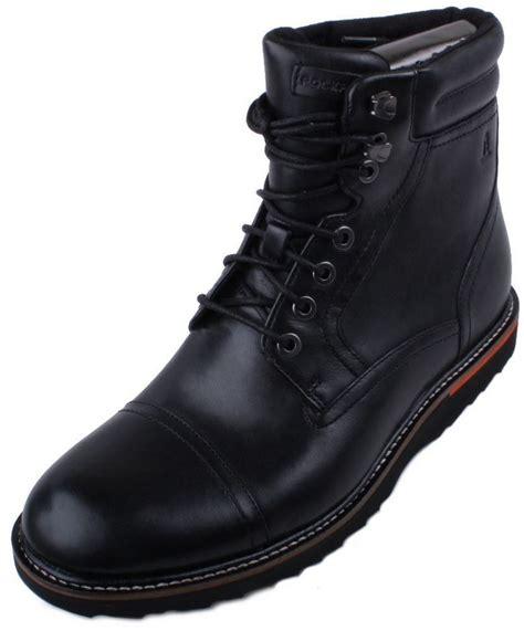 Rockport Union Street Cap High Mens Black Leather Boots eBay