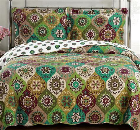 Gold Coverlet by Moroccan Boho Medallion Gold Green Lightweightquilt