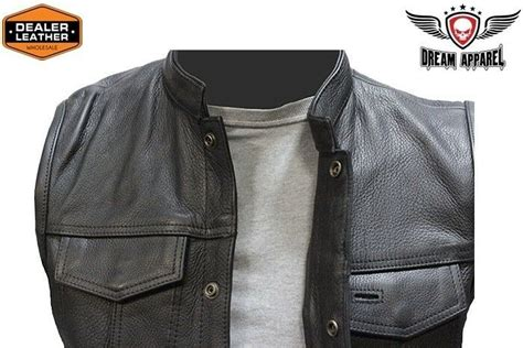 Concealed Carry Leather Outlaw Mc Club & Biker Vest