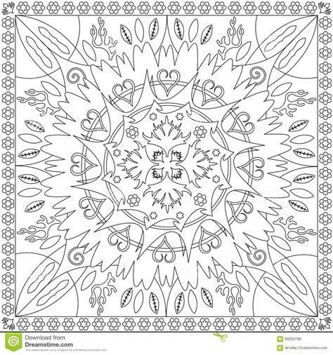 coloring page book  adults square format mandala flower