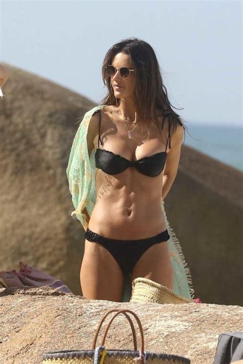 alessandra ambrosio   black bikini   beach  porto alegre  celebslacom