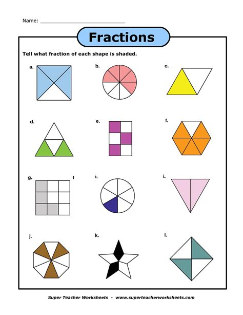 fraction shapes shaded worksheet fractions of shapes a