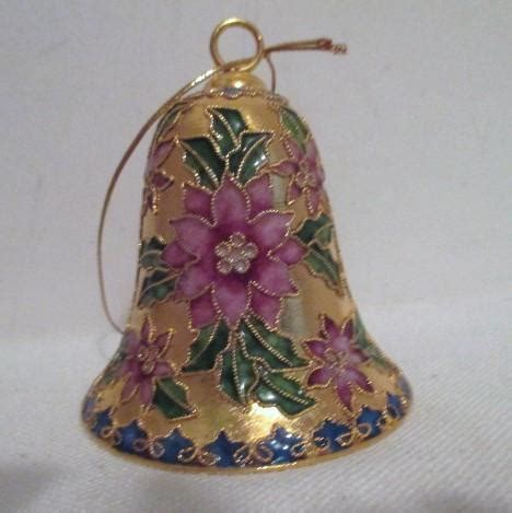 poinsettia bell ornament traditions chleve cloisonne christmas ornament bell with poinsettia from somethingwonderful on ruby lane
