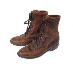 womens brown boots nz items similar to vtg 39 s brown leather justin lace up boots size 6 on etsy