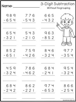 3 digit subtraction without regrouping worksheets by learning desk