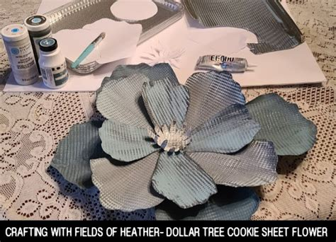 dollar tree cookie flowers sheet metal sheets crafts cricut foil flower paper fieldsofhether fields heather craft tin cookies projects aluminum