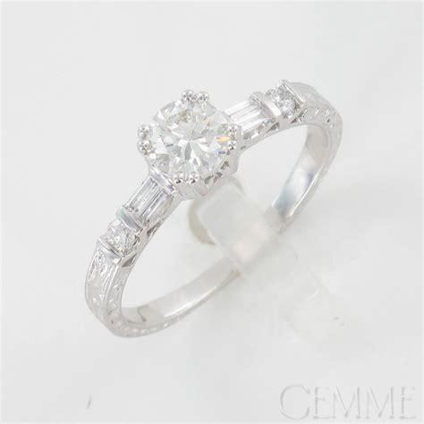 bague solitaire or blanc diamant taille moderne diamant baguette