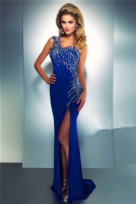 sheath  shoulder long royal blue chiffon beaded sequin