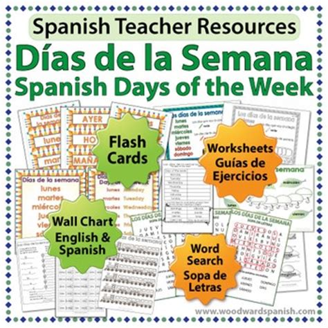 days   week  spanish worksheets wall charts