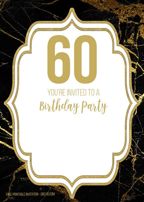 printable black  gold  birthday invitation