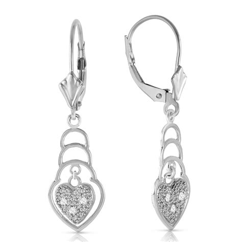 0 03 carat 14k solid white gold leverback earrings