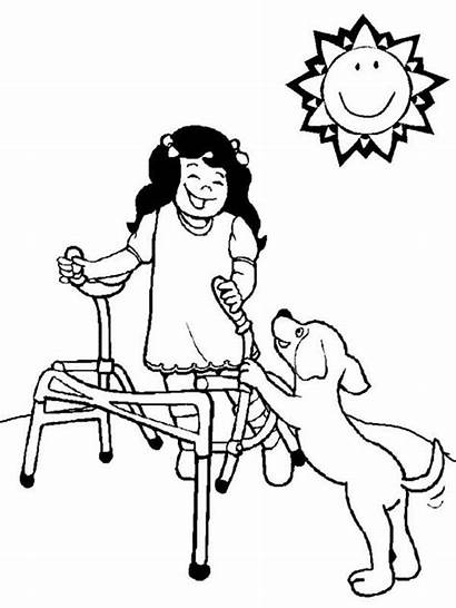Coloring Playing Dog Pages Disabilities Disability Sheets