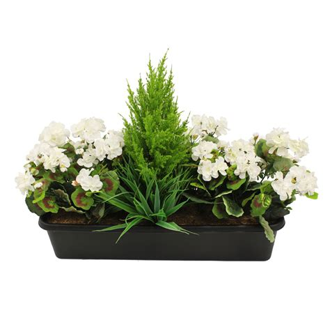 artificial geranium window box fake flower box