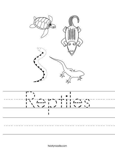 reptiles worksheet twisty noodle preschool worksheets
