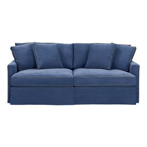 blue jean denim sofa crate barrell denim sofa blue lounge 83 quot slipcovered